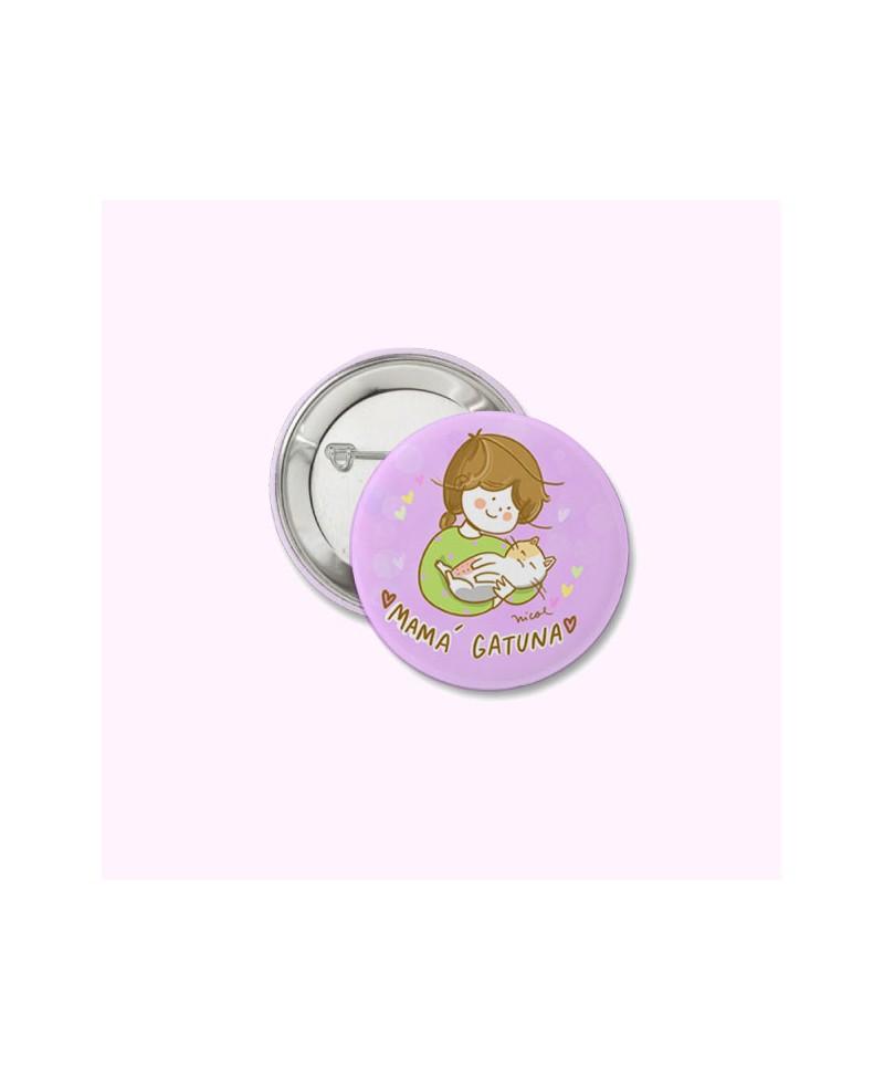 Button pin mamá  gatuna